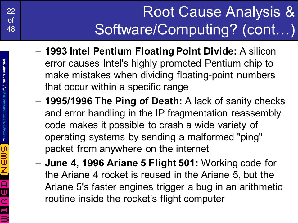 22 of 48 Root Cause Analysis & Software/Computing.
