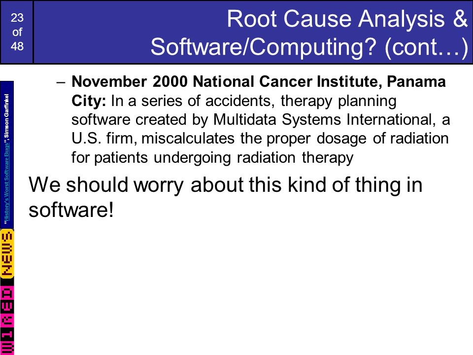 23 of 48 Root Cause Analysis & Software/Computing.