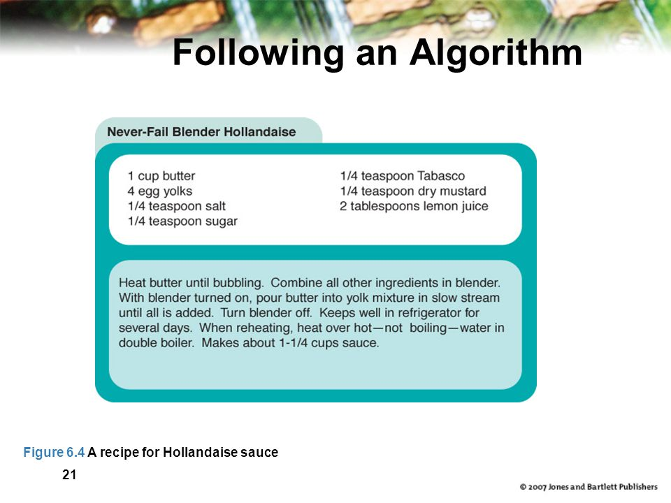 21 Following an Algorithm Figure 6.4 A recipe for Hollandaise sauce