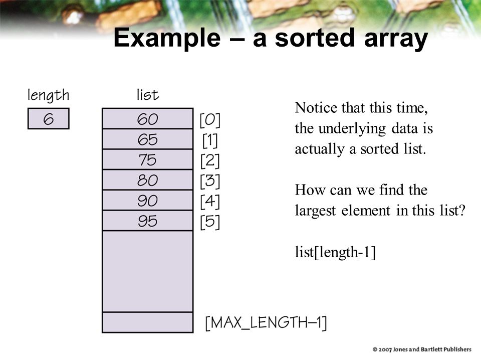Example – a sorted array Notice that this time, the underlying data is actually a sorted list.