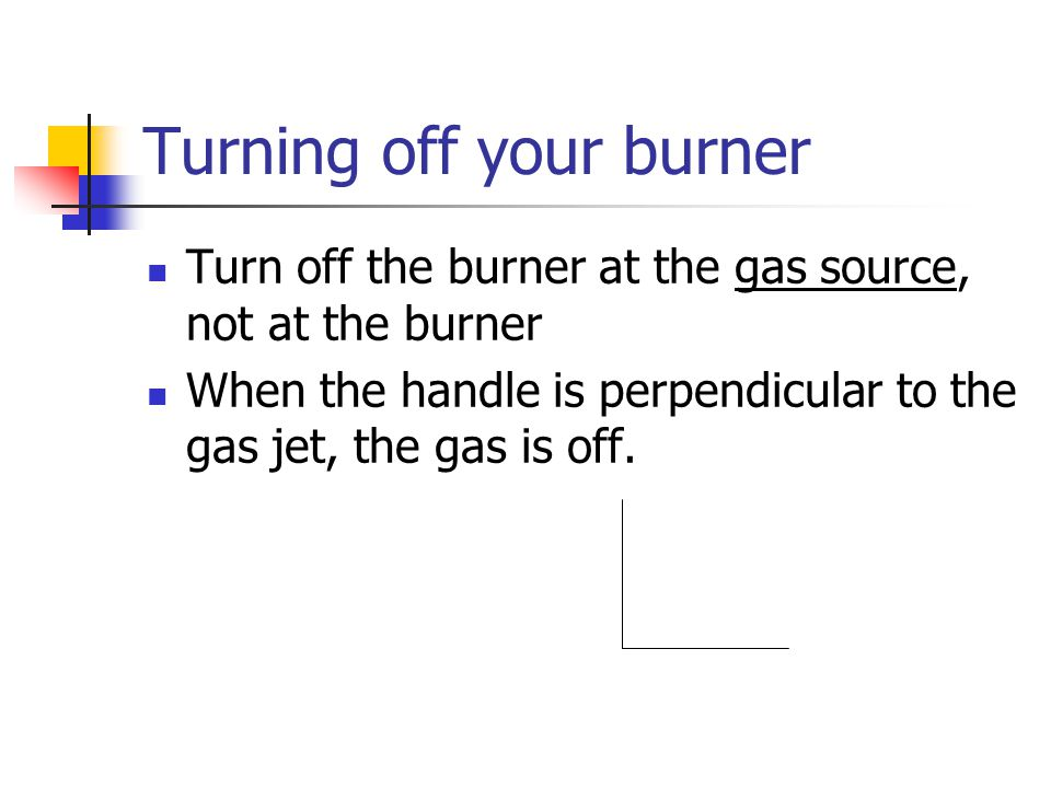 Turning off your burner Turn off the burner at the gas source, not at the burner When the handle is perpendicular to the gas jet, the gas is off.