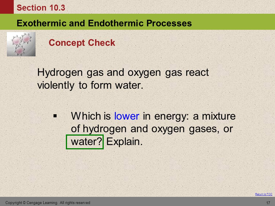 Section 10.3 Exothermic and Endothermic Processes Return to TOC Copyright © Cengage Learning.