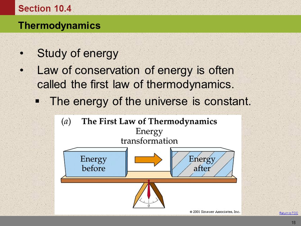 Section 10.4 Thermodynamics Return to TOC 18 Study of energy Law of conservation of energy is often called the first law of thermodynamics.