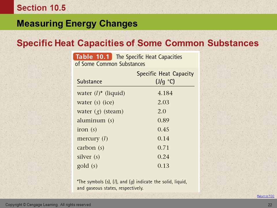 Section 10.5 Measuring Energy Changes Return to TOC Copyright © Cengage Learning.