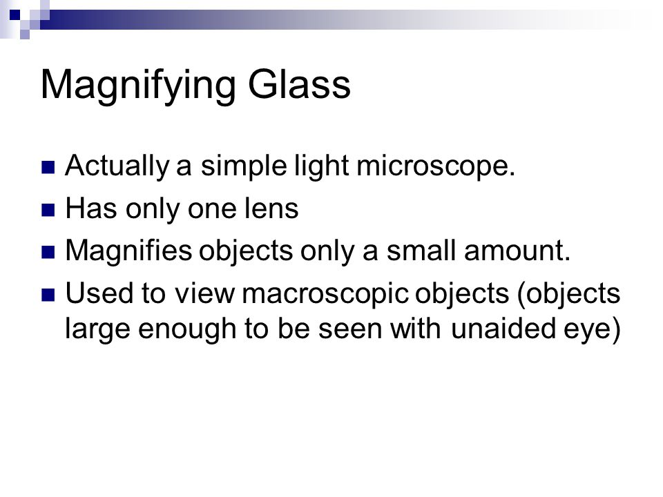 Magnifying Glass Actually a simple light microscope. Has only one lens Magnifies objects only a small amount. Used to view macroscopic objects (object