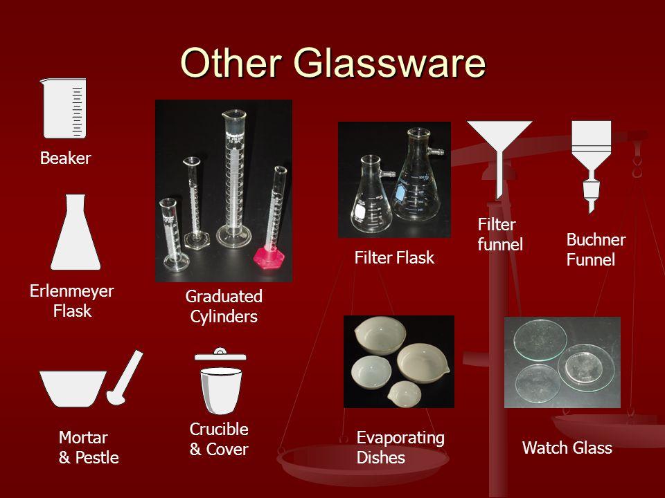 Other Glassware Beaker Erlenmeyer Flask Mortar & Pestle Buchner Funnel Filter funnel Crucible & Cover Evaporating Dishes Watch Glass Filter Flask Graduated Cylinders