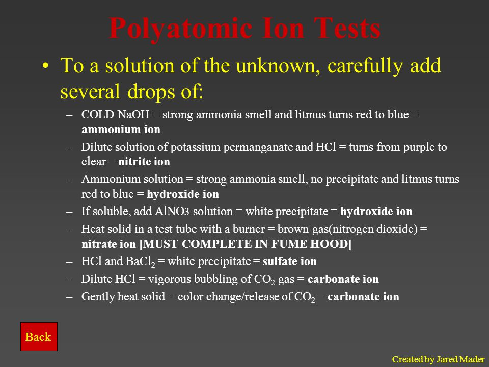 Created by Jared Mader Polyatomic Ion Tests To a solution of the unknown, carefully add several drops of: –COLD NaOH = strong ammonia smell and litmus