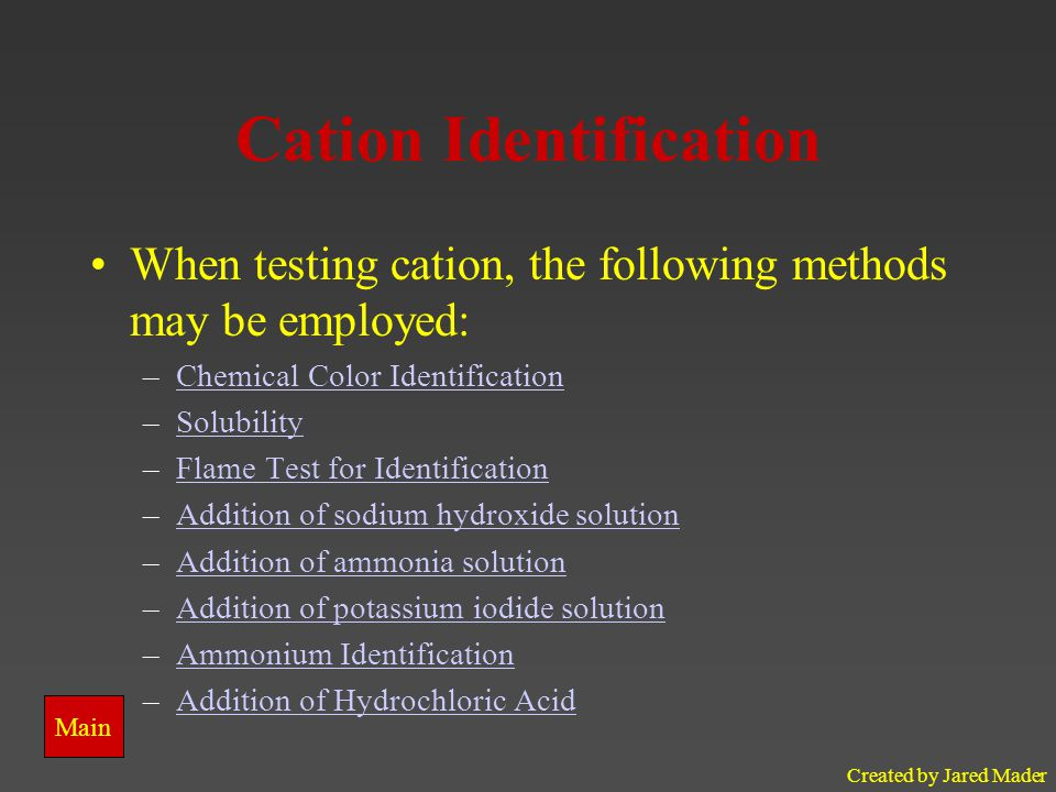 Created by Jared Mader Chemical Identification The tests found in the identification methods listed below will help you identify the unknown chemicals