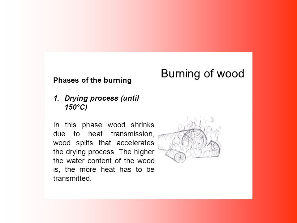 Burning of wood Phases of the burning 1.Drying process (until 150°C) In this phase wood shrinks due to heat transmission, wood splits that accelerates the drying process.