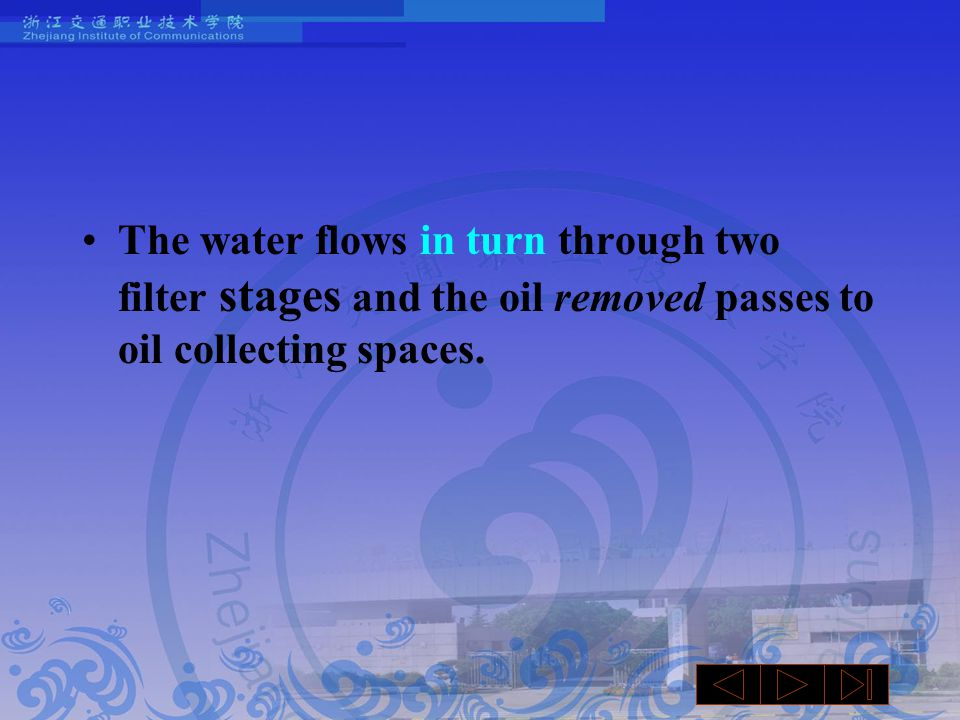 The water flows in turn through two filter stages and the oil removed passes to oil collecting spaces.