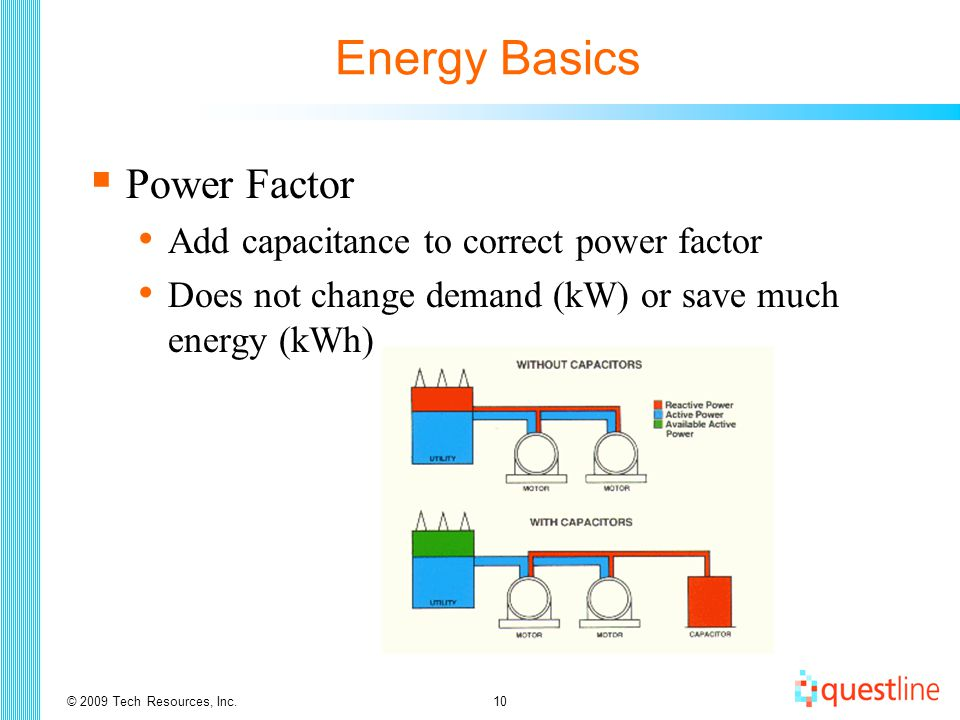 © 2009 Tech Resources, Inc.10 Energy Basics  Power Factor Add capacitance to correct power factor Does not change demand (kW) or save much energy (kWh)