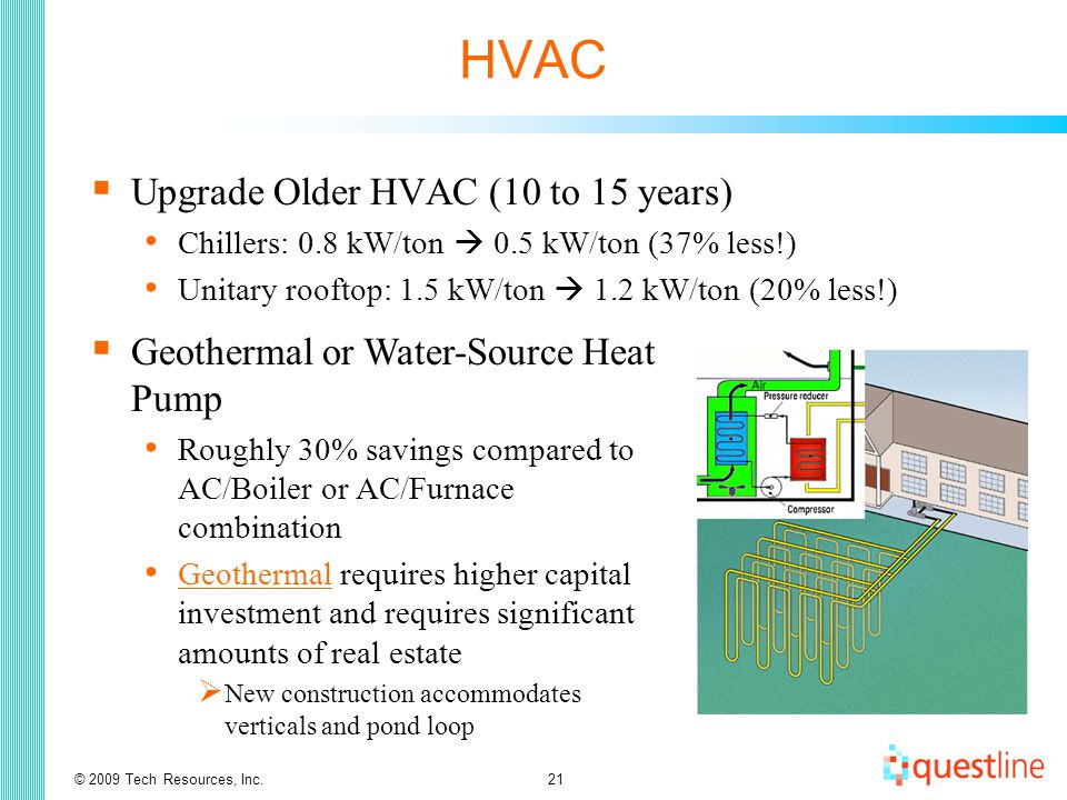 © 2009 Tech Resources, Inc.21 HVAC  Upgrade Older HVAC (10 to 15 years) Chillers: 0.8 kW/ton  0.5 kW/ton (37% less!) Unitary rooftop: 1.5 kW/ton  1.2 kW/ton (20% less!)  Geothermal or Water-Source Heat Pump Roughly 30% savings compared to AC/Boiler or AC/Furnace combination Geothermal requires higher capital investment and requires significant amounts of real estate Geothermal  New construction accommodates verticals and pond loop