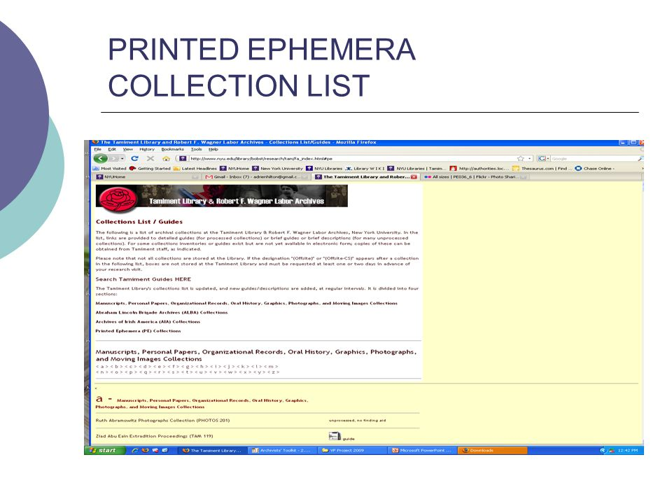 PRINTED EPHEMERA COLLECTION LIST