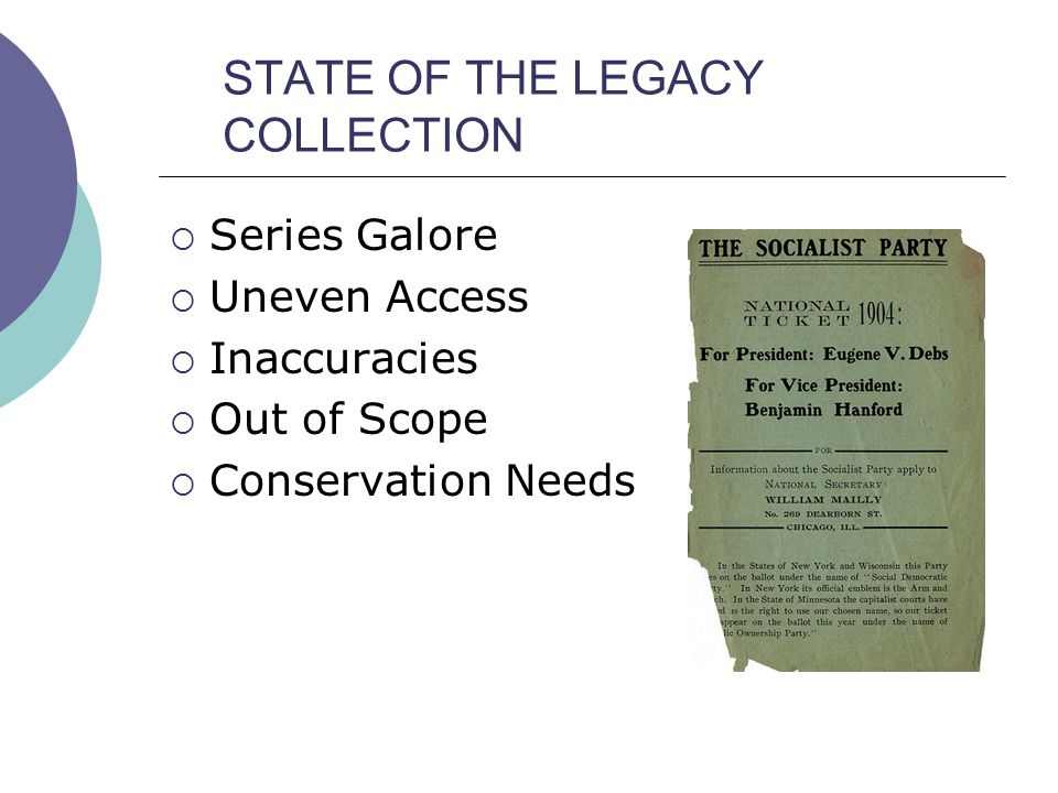 Goals of the Project  Appraise both onsite Vertical File and backlog portions of the Collection in terms of content, scope, and format  Integrate the two parts  Process materials into manuscript collections using archival methodology  Make collections available via EAD finding aids using the Archivists' Toolkit  Develop Guidelines and Definitions