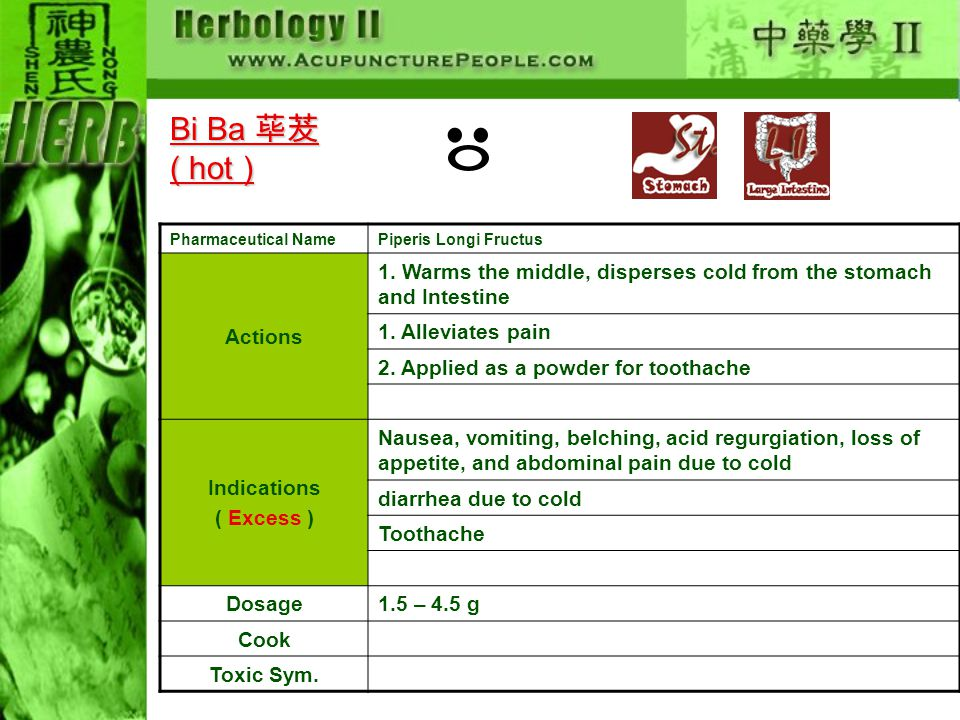 Pharmaceutical NamePiperis Longi Fructus Actions 1. Warms the middle, disperses cold from the stomach and Intestine 1. Alleviates pain 2. Applied as a