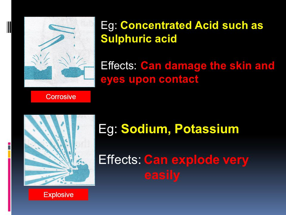 Flammable/Inflammable Eg: Alchohol, Petrol, Kerosine Effects: Can burn very easily Radioactive Eg: Plutonium, Uronium Effects: Gives out radiation and can cause radioactive effects