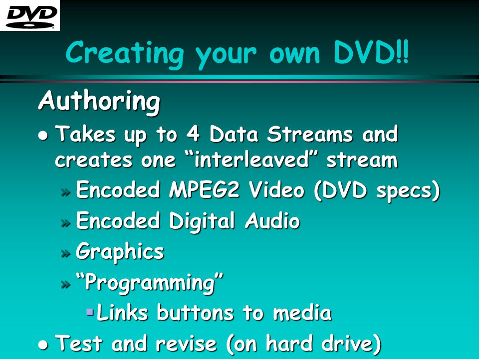"Creating your own DVD!! Authoring l Takes up to 4 Data Streams and creates one ""interleaved"" stream » Encoded MPEG2 Video (DVD specs) » Encoded Digita"