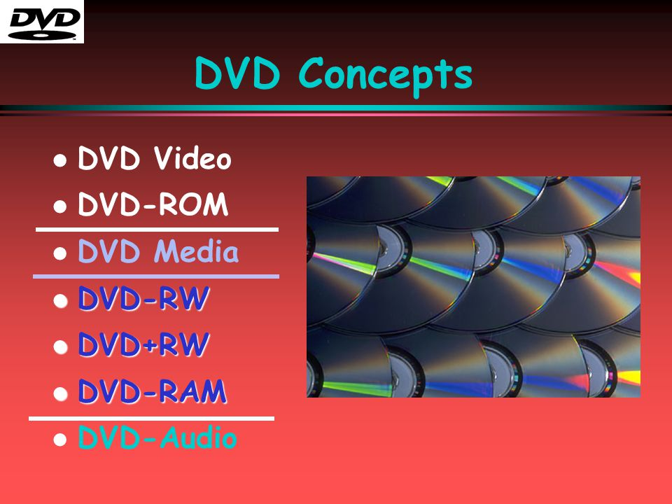 DVD Concepts l l DVD Video l l DVD-ROM l l DVD Media l DVD-RW l DVD+RW l DVD-RAM l l DVD-Audio