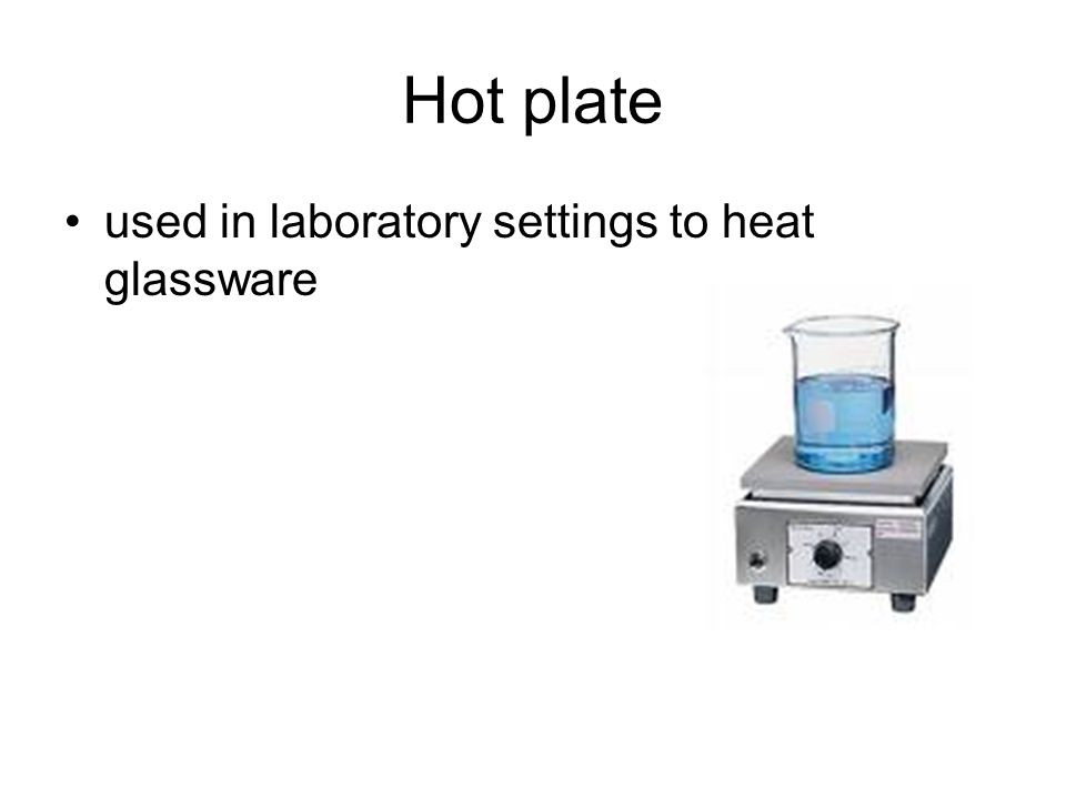 Hot plate used in laboratory settings to heat glassware