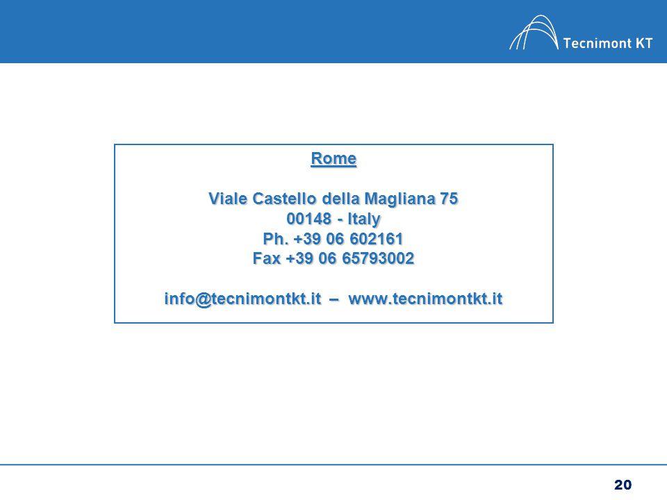 20 Rome Viale Castello della Magliana 75 00148 - Italy Ph.