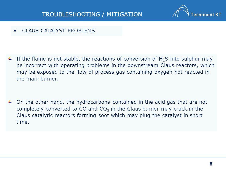 6 TROUBLESHOOTING / MITIGATION Sulphur deposition Catalyst deactivation Carbon deposition Sulphation Sintherization CLAUS CATALYST PROBLEMS