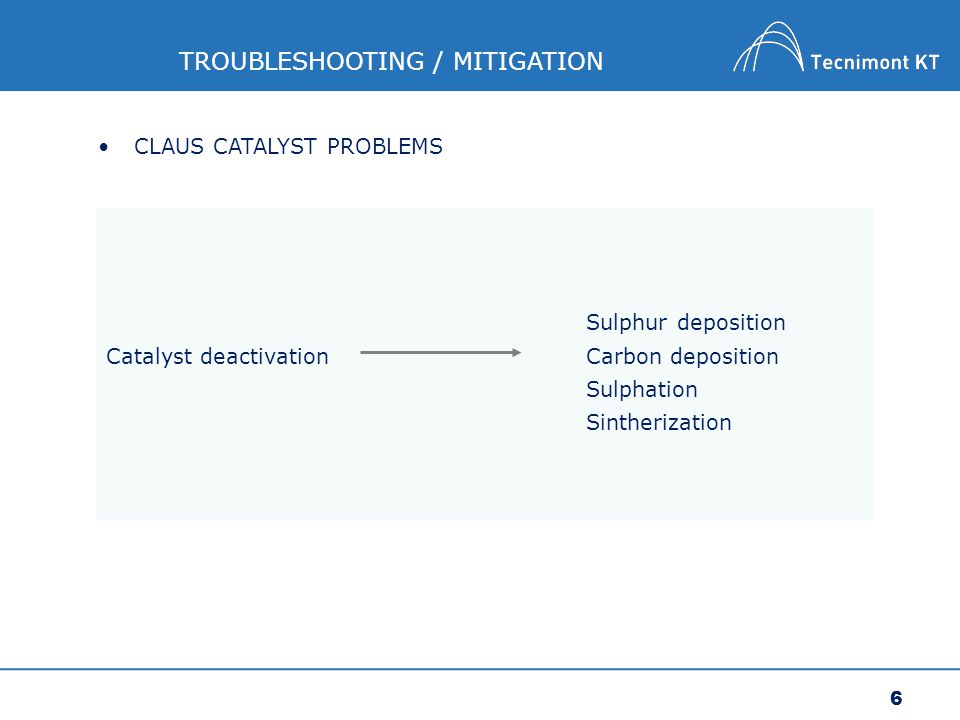 7 TROUBLESHOOTING / MITIGATION SULPHUR DEPOSITION CAUSE: too close dew point approach of process gas from reactor Catalyst deactivation can also occur when the reactor bed temperature drops below the sulphur dew point of the process gas.