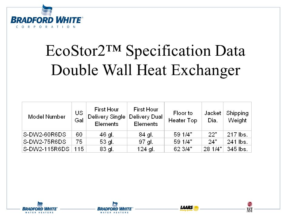 EcoStor2™ Specification Data Double Wall Heat Exchanger