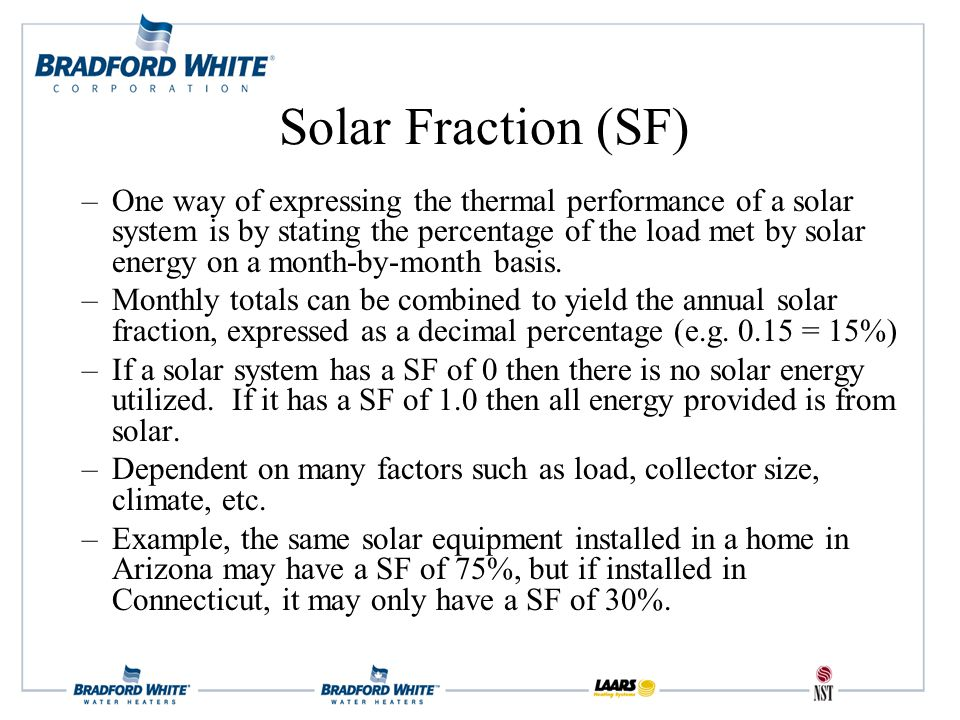 –One way of expressing the thermal performance of a solar system is by stating the percentage of the load met by solar energy on a month-by-month basis.