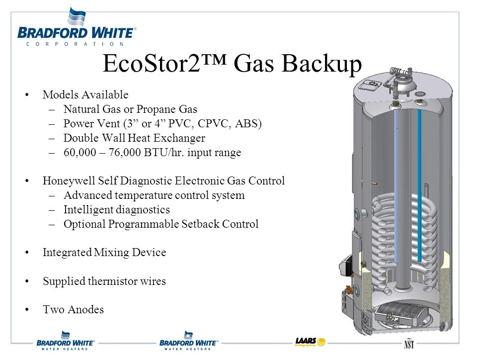 Models Available –Natural Gas or Propane Gas –Power Vent (3 or 4 PVC, CPVC, ABS) –Double Wall Heat Exchanger –60,000 – 76,000 BTU/hr.