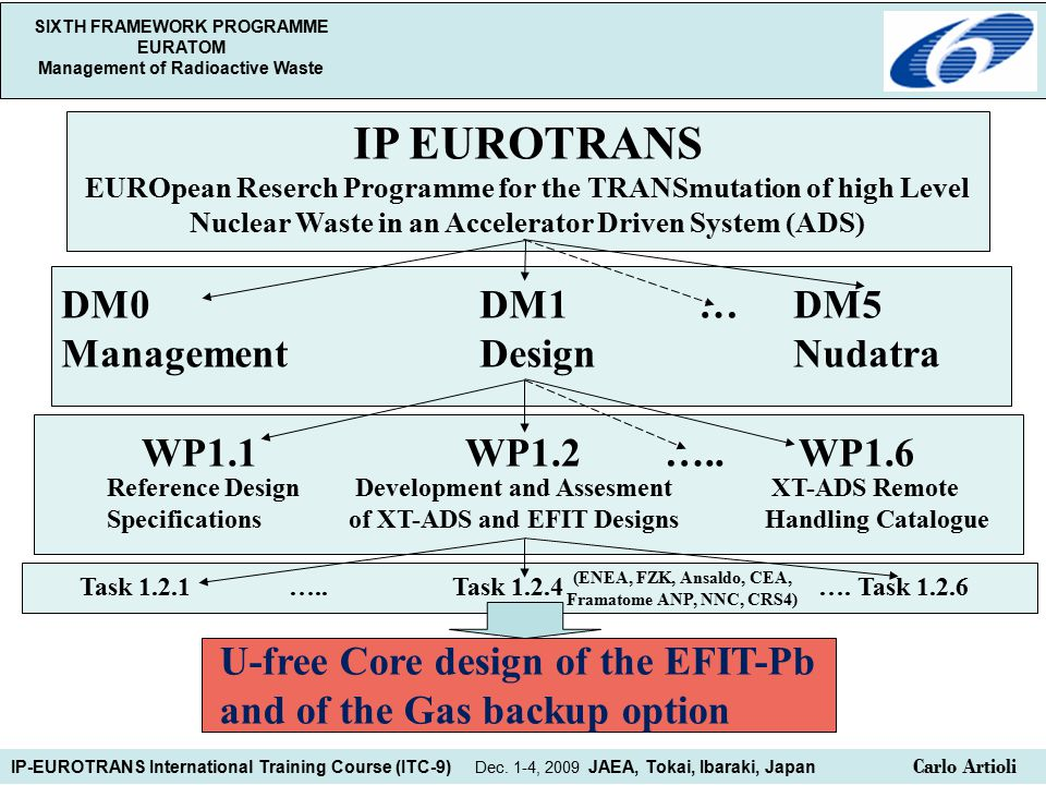 SIXTH FRAMEWORK PROGRAMME EURATOM Management of Radioactive Waste IP EUROTRANS EUROpean Reserch Programme for the TRANSmutation of high Level Nuclear Waste in an Accelerator Driven System (ADS) DM0DM1 … DM5 ManagementDesignNudatra WP1.1 WP1.2…..