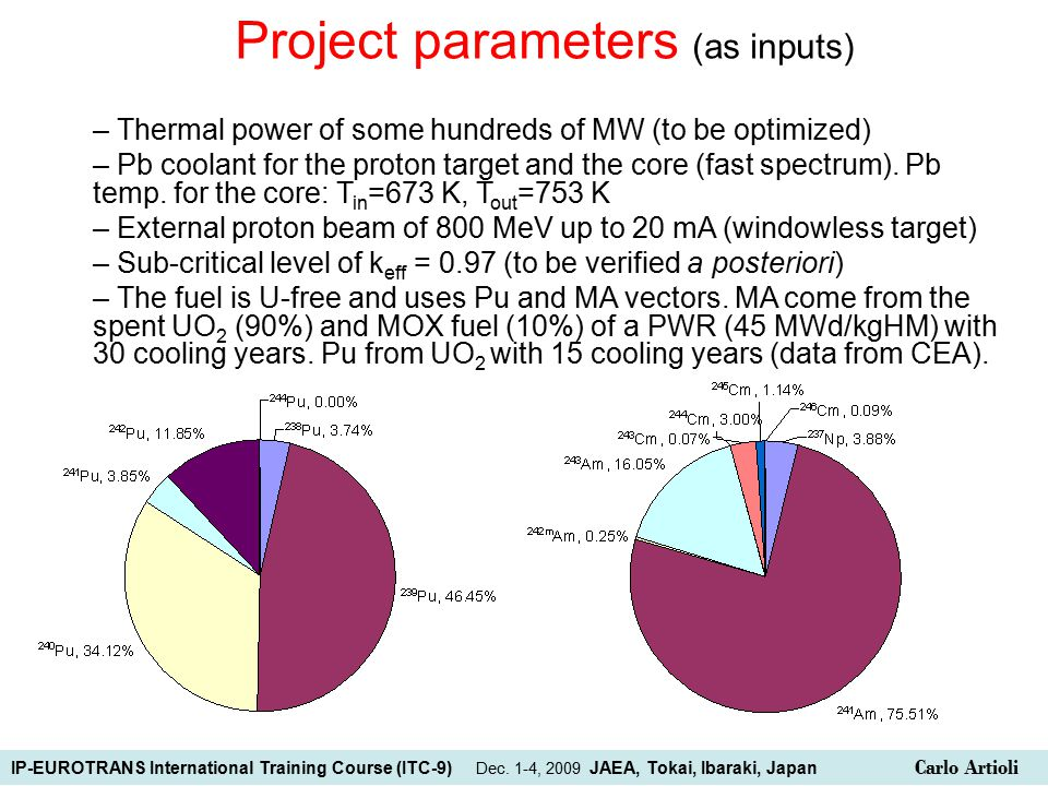 Project parameters (as inputs) – Thermal power of some hundreds of MW (to be optimized) – Pb coolant for the proton target and the core (fast spectrum).