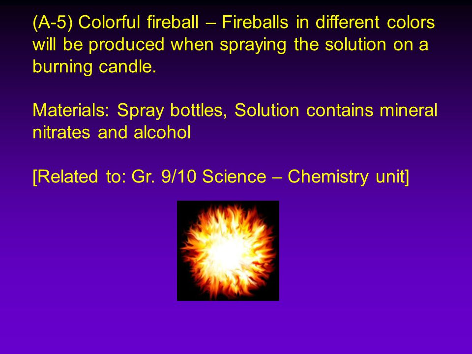 (A-5) Colorful fireball – Fireballs in different colors will be produced when spraying the solution on a burning candle.