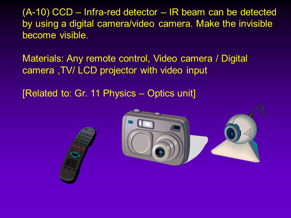 (A-10) CCD – Infra-red detector – IR beam can be detected by using a digital camera/video camera.