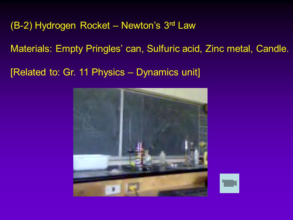 (B-2) Hydrogen Rocket – Newton's 3 rd Law Materials: Empty Pringles' can, Sulfuric acid, Zinc metal, Candle.
