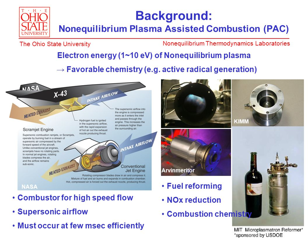 Nonequilibrium Thermodynamics Laboratories The Ohio State University Background: Nonequilibrium Plasma Assisted Combustion (PAC) Electron energy (1~10 eV) of Nonequilibrium plasma → Favorable chemistry (e.g.