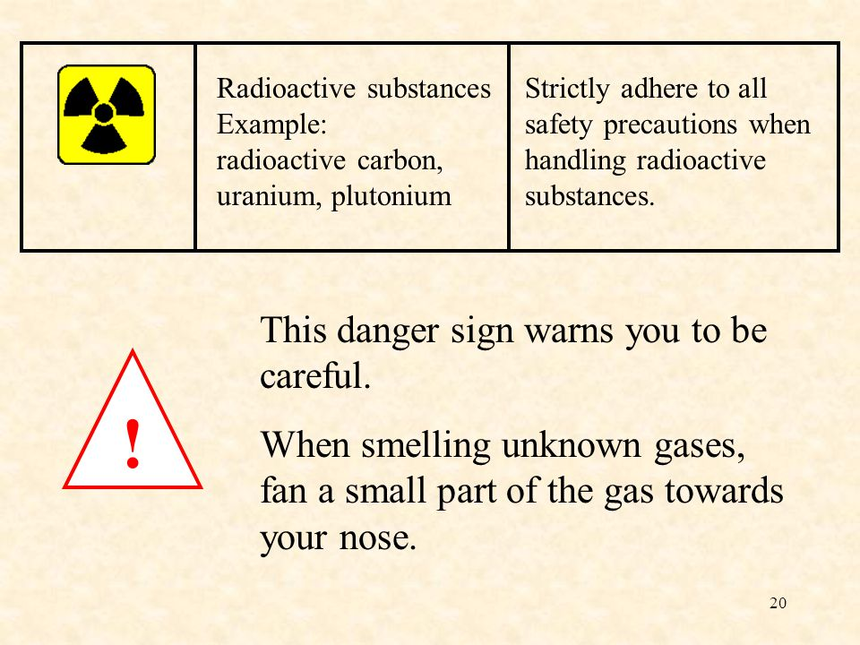 20 . This danger sign warns you to be careful.