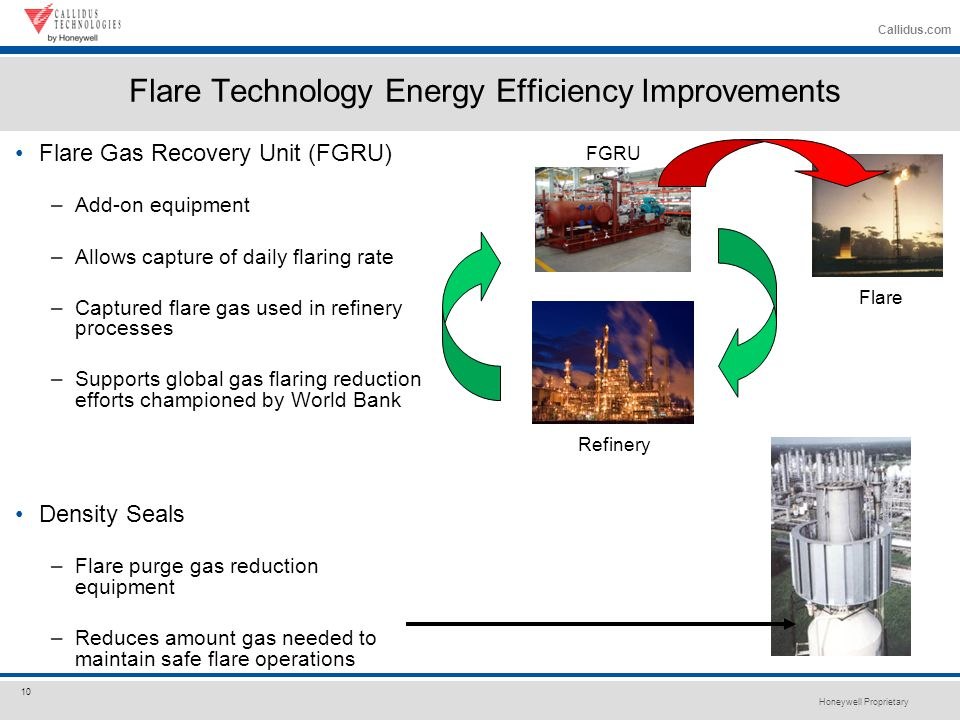 Honeywell Proprietary 10 Callidus.com Flare Technology Energy Efficiency Improvements Flare Gas Recovery Unit (FGRU) –Add-on equipment –Allows capture of daily flaring rate –Captured flare gas used in refinery processes –Supports global gas flaring reduction efforts championed by World Bank Density Seals –Flare purge gas reduction equipment –Reduces amount gas needed to maintain safe flare operations FGRU Refinery Flare