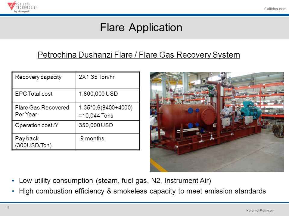 Honeywell Proprietary 11 Callidus.com Petrochina Dushanzi Flare / Flare Gas Recovery System Recovery capacity2X1.35 Ton/hr EPC Total cost1,800,000 USD Flare Gas Recovered Per Year 1.35*0.6(8400+4000) =10,044 Tons Operation cost /Y350,000 USD Pay back (300USD/Ton) 9 months Flare Application Low utility consumption (steam, fuel gas, N2, Instrument Air) High combustion efficiency & smokeless capacity to meet emission standards