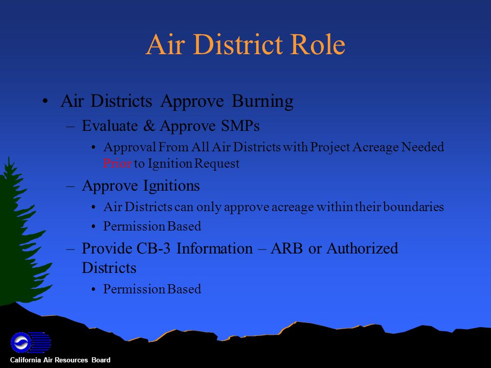 California Air Resources Board ARB Role Gate keeper –Approve Initial User Accounts Once an Air District or Burner Unit has an admin account all new user accounts can be approved locally or by ARB –Provide assistance to Air Districts as needed Issues 24-hr Basin Burn Day Decisions Issues CB-3s