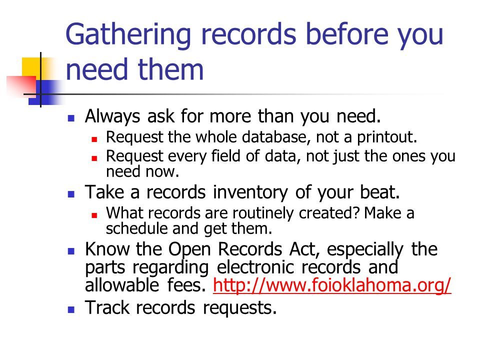 What to do with records once you have them Look for the minimum and the maximum story.