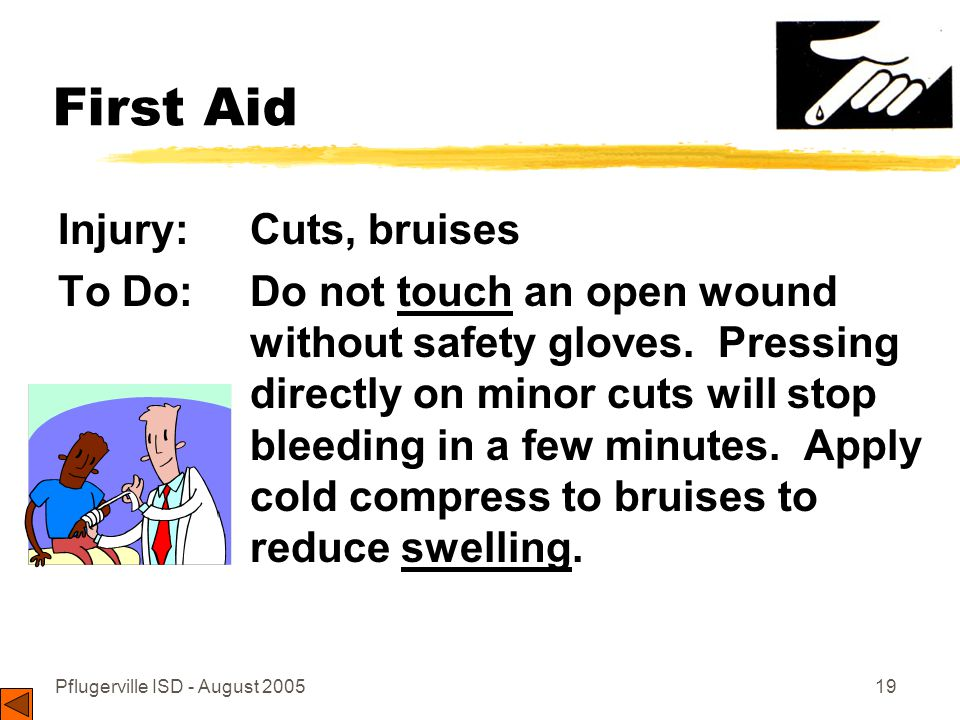 Pflugerville ISD - August 200519 First Aid Injury: Cuts, bruises To Do: Do not touch an open wound without safety gloves.