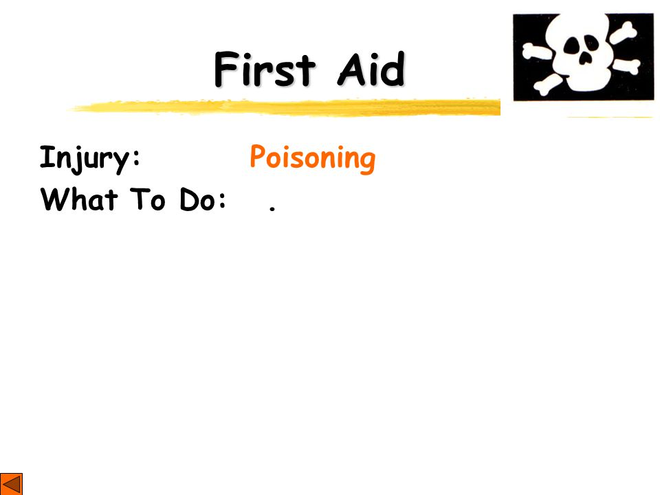 First Aid Injury: Poisoning What To Do:.