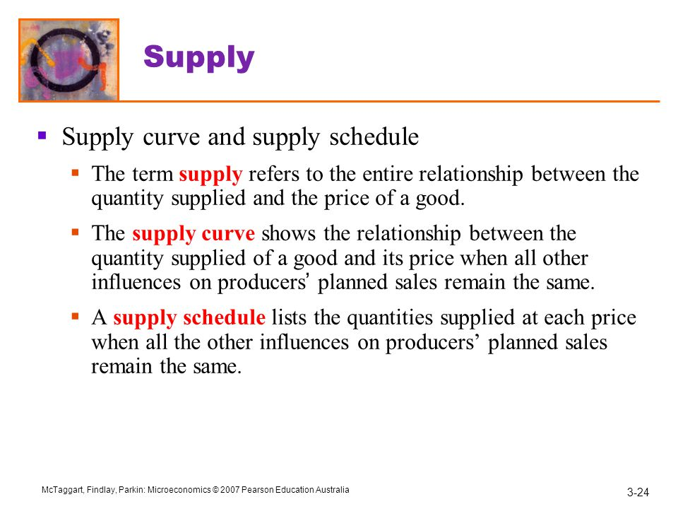 3-24 McTaggart, Findlay, Parkin: Microeconomics © 2007 Pearson Education Australia Supply  Supply curve and supply schedule  The term supply refers to the entire relationship between the quantity supplied and the price of a good.