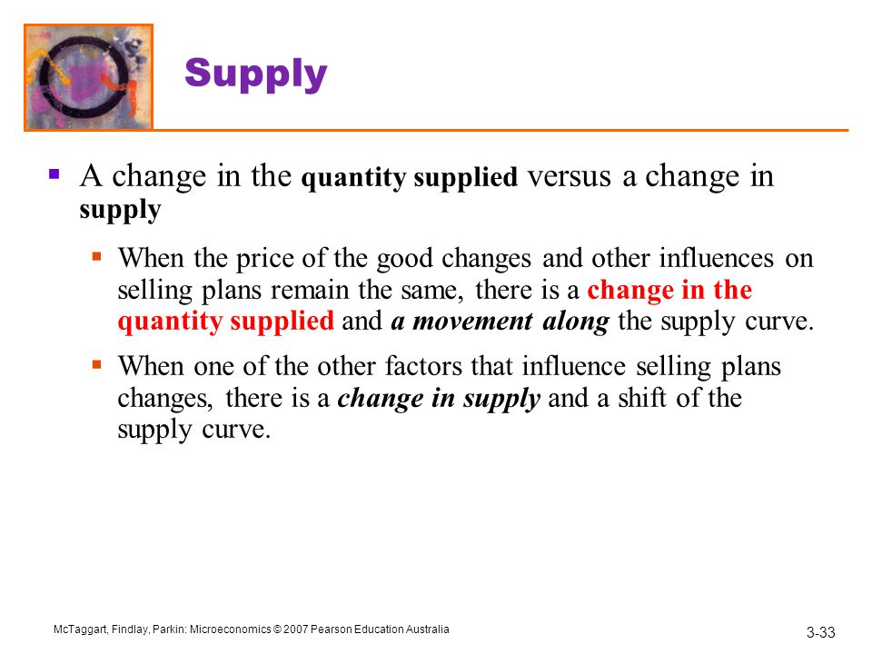 3-33 McTaggart, Findlay, Parkin: Microeconomics © 2007 Pearson Education Australia Supply  A change in the quantity supplied versus a change in supply  When the price of the good changes and other influences on selling plans remain the same, there is a change in the quantity supplied and a movement along the supply curve.