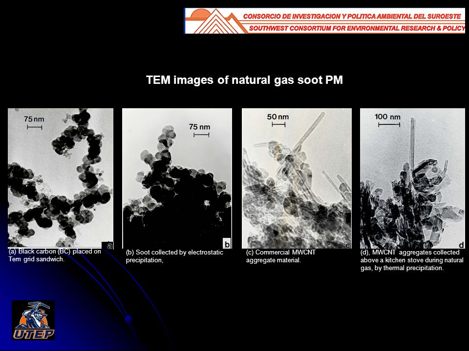 TEM images of natural gas soot PM (d), MWCNT aggregates collected above a kitchen stove during natural gas, by thermal precipitation.