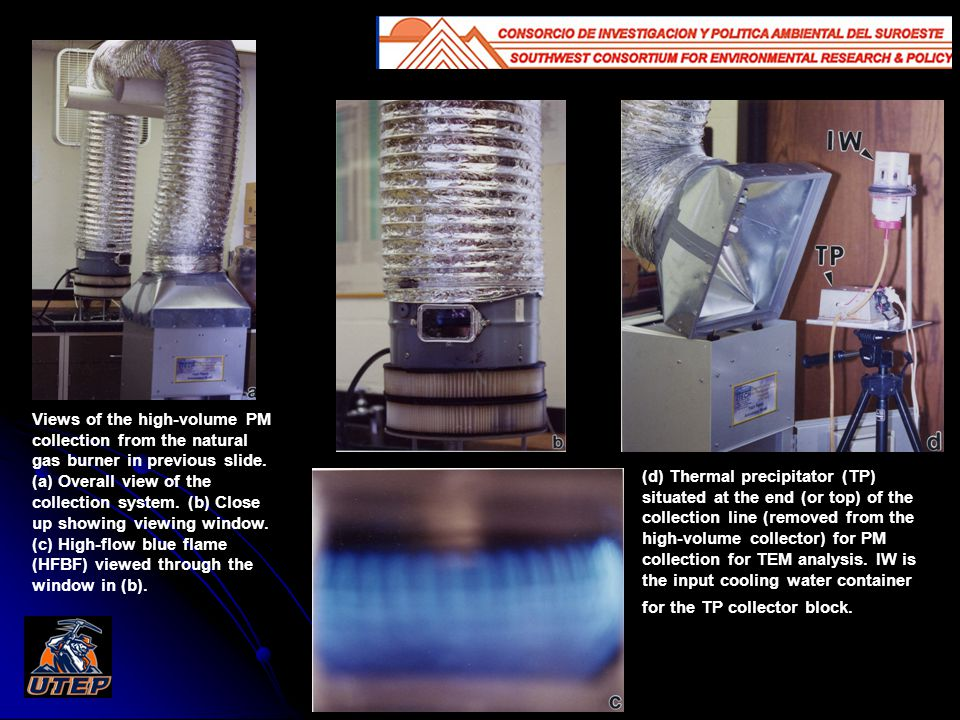 Views of the high-volume PM collection from the natural gas burner in previous slide.