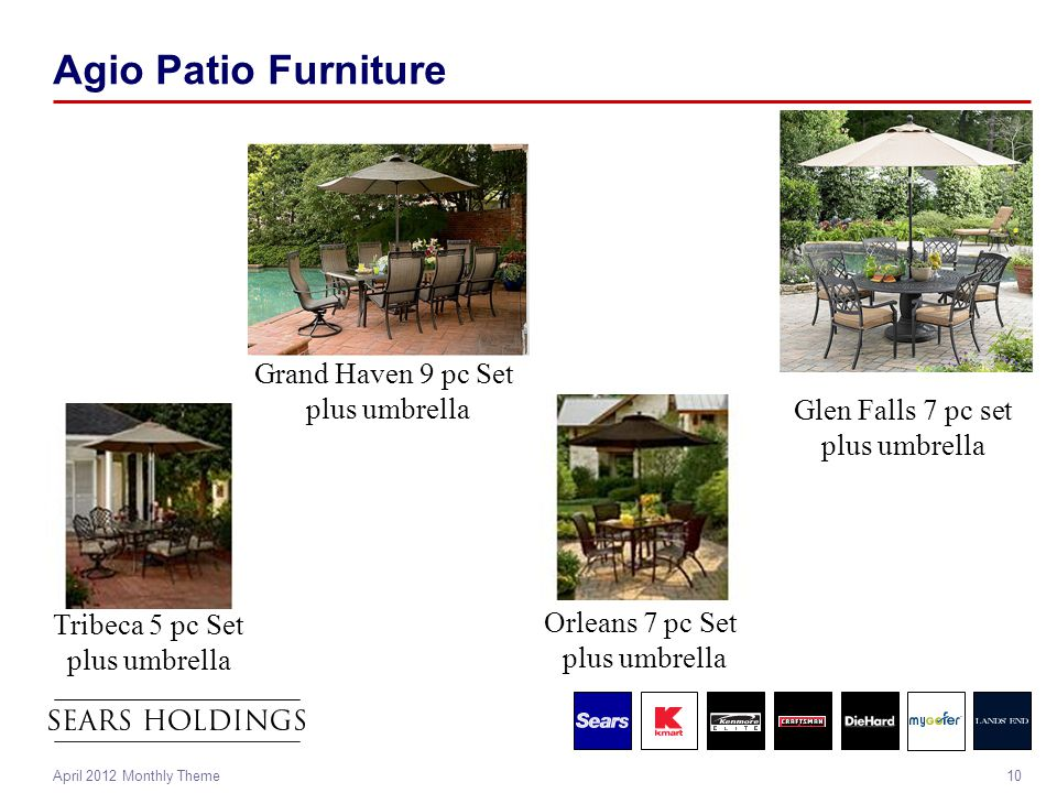 10April 2012 Monthly Theme Agio Patio Furniture Tribeca 5 pc Set plus umbrella Orleans 7 pc Set plus umbrella Glen Falls 7 pc set plus umbrella Grand Haven 9 pc Set plus umbrella