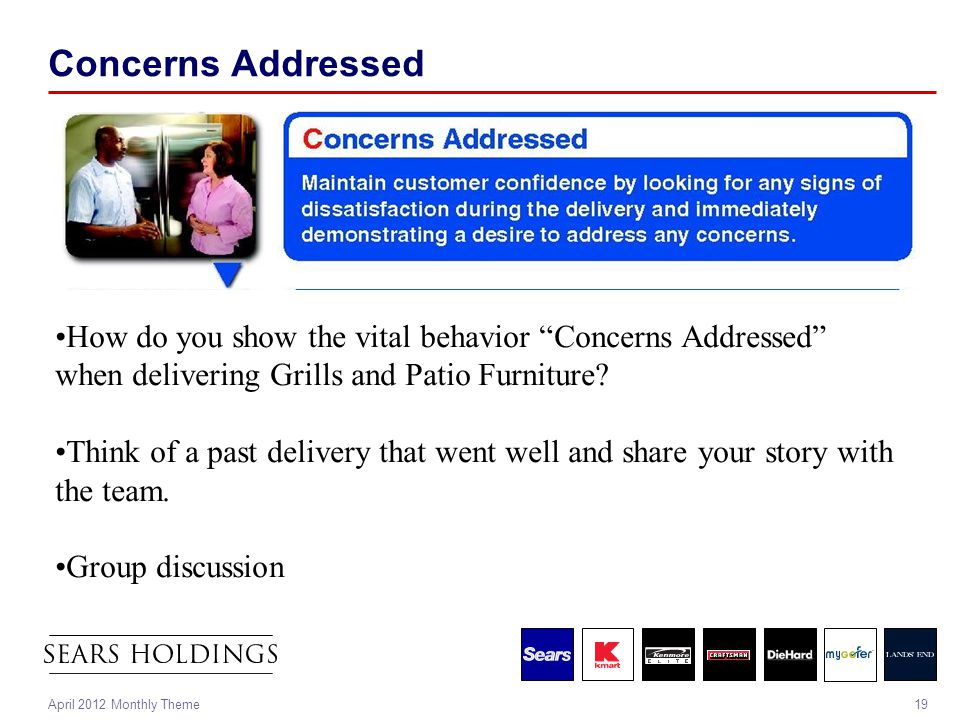 "19April 2012 Monthly Theme Concerns Addressed How do you show the vital behavior ""Concerns Addressed"" when delivering Grills and Patio Furniture? Thin"