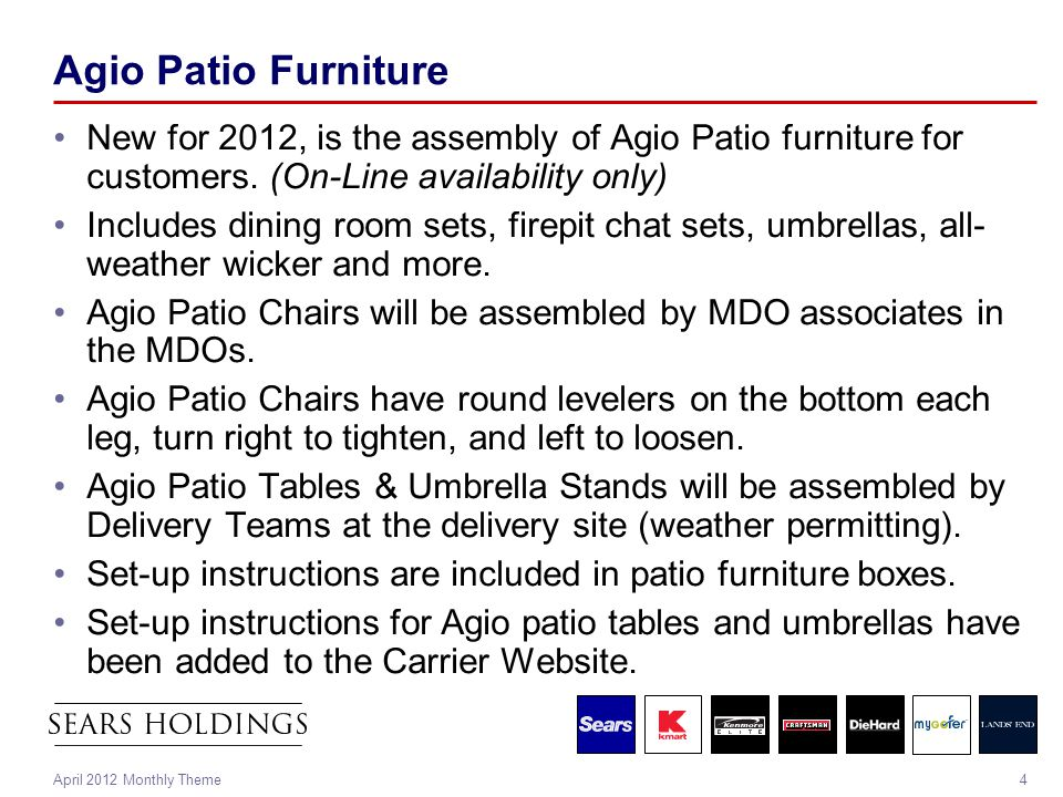 4April 2012 Monthly Theme Agio Patio Furniture New for 2012, is the assembly of Agio Patio furniture for customers. (On-Line availability only) Includ