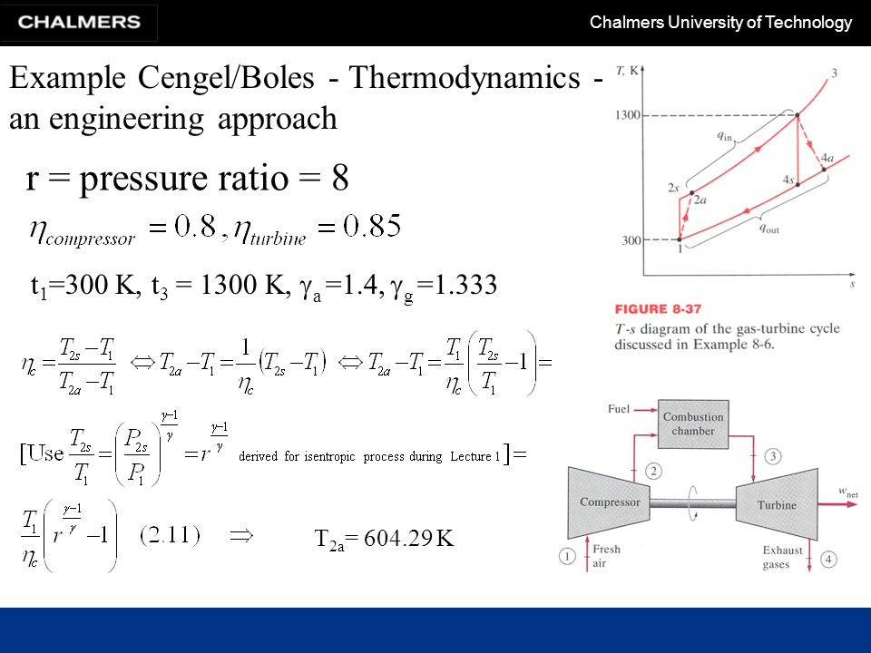 Chalmers University of Technology Example Cengel/Boles - Thermodynamics - an engineering approach T 4a = 852.29K.